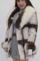 Pelz Fell Jacke   Kanin geschoren mit Blaufuchs Besatz