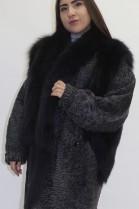 Pelz   Fell  Jacke Persianer  grau mit Blaufuchs
