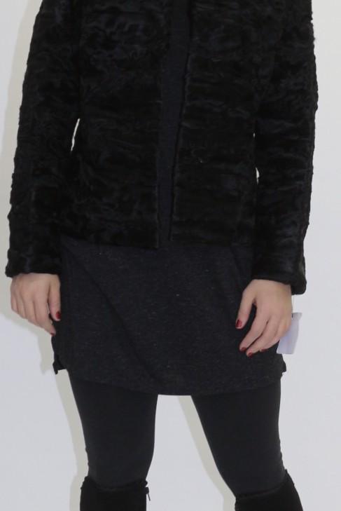 Pelz -  Fell Mantel Persianer Stücke schwarz