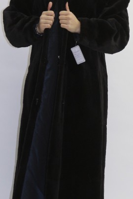 Pelz  Fell  Mantel  Bisam gerupft dunkel braun