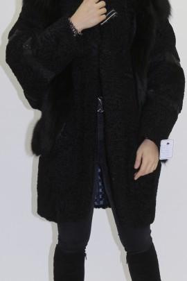 Pelz  Fell Jacke Persianer schwarz mit Blaufuchs Dekor
