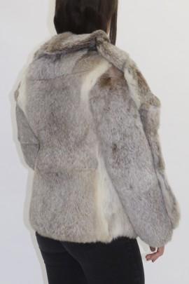 Pelz  Fell Jacke Kanin beige grau