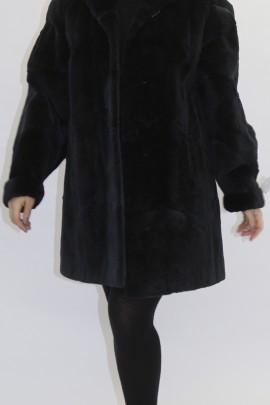 Pelz Fell   Jacke  Bisam geschoren schwarz - blau