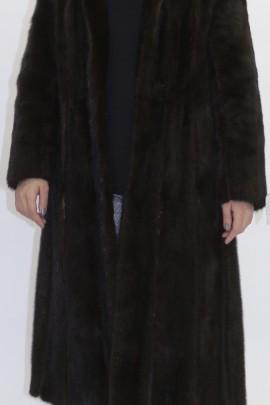 Pelz  Mantel Nerz braun  mit Leder kombiniert und Gürtel
