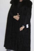 Pelz Fell  Poncho Mantel schwarz mit Blaufuchs Kragen