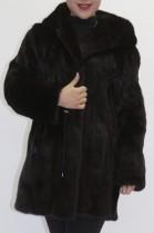 Fur coat mink dark brown with hood