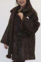 Fur fur jacket Nutria brown with leather belt