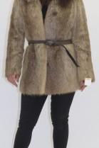 Fur fur jacket Nutria with blue fox collar