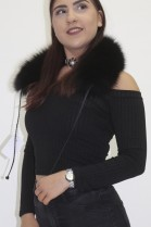 Fur fur collar blue fox with leather straps