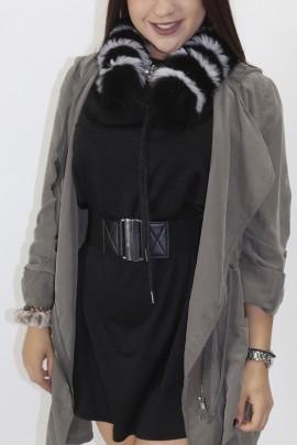 Pelz - Fell Streifen  Blaufuchs schwarz-weiß