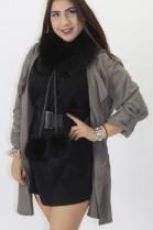 Fur - fur roll Finnraccoon black with pompom