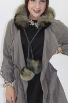 Fur - fur roll blue fox green black with pompom