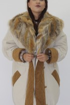 Fur fur jacket inner panel red fox pieces nature with hood