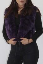 Fur rabbit fur vest purple