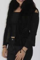 Fur fur vest weasel with blue fox collar