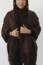 Fur fur border lamb brown with brown fabric