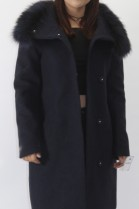 Fur collar silver fox with fabric jacket