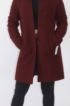 Pelz Fell Kragen Blaufuchs mit Stoff  Jacke rot