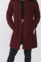 Fur collar blue fox black with fabric jacket
