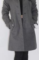 Pelz Fell Kragen Blaufuchs Anthrazit mit Stoff Mantel
