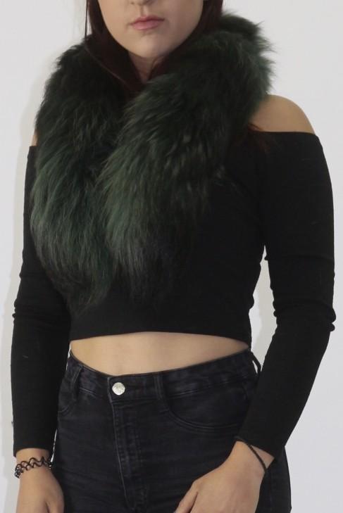 Pelz Fell  Kragen Finnraccoon schwarz-grün