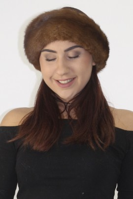 Fur-fur hat cap cap mink brown