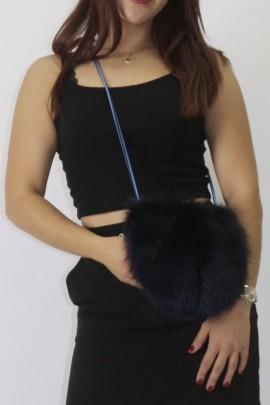 Fur pouch blue fox blue