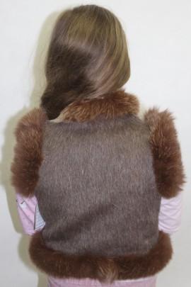 Pelz- Fell Kinder Weste Blaufuchs Besatz