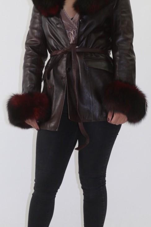 Leder Jacke mit Blaufuchs Besatz rot Pelz abnehmbar