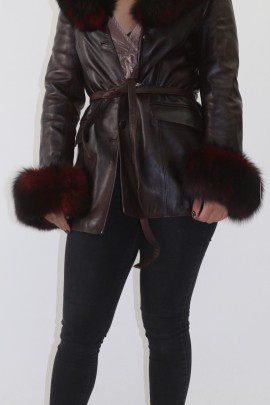 Fur jacket blue fox can be removed with leather jacket