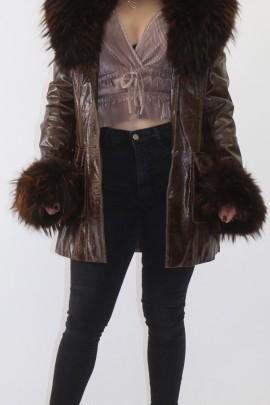 Pelz- Fell  Leder Jacke mit Silberfuchs Besatz  abnehmbar