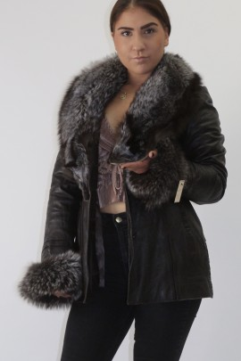 Fur jacket silver fox can be removed with leather jacket