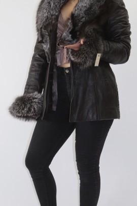 Pelz- Fell  Leder Jacke Silberfuchs zum abnehmen