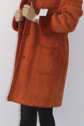 Pelz Fell  Jacke gewachsenes Lamm Orange