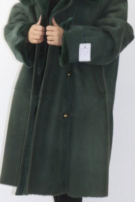 Pelz Fell  Jacke gewachsenes Lamm grün