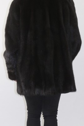 Fur fur mink jacket deep brown