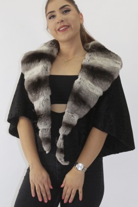 Fur jacket with wide tail and chinchilla