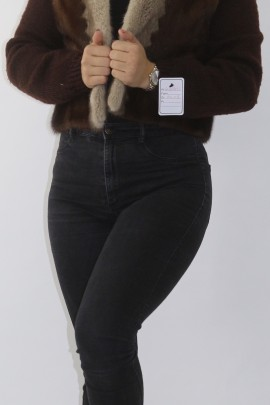 Fur fur mink with knitted jacket