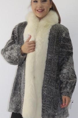 Pelz Fell Jacke  Persianer grau mit Blaufuchs Umrandung