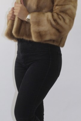 Fur jacket mink beige
