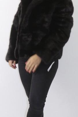Fur jacket mink cross deep brown