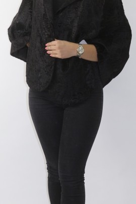 Fur fur jacket Cape wide tail black