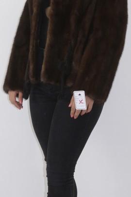 Fur fur mink jacket short brown