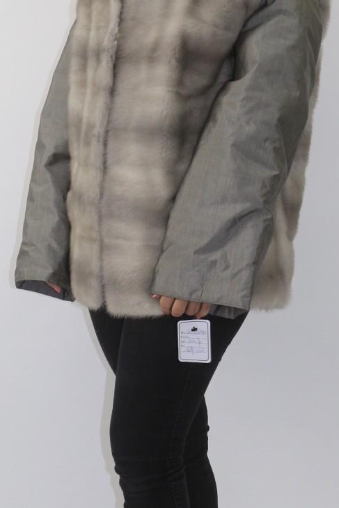 Fur jacket mink sapphire gray
