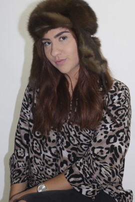 Fur-fur hat cap Russian sable brown