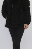Pelz  Fell  Jacke  Persianer schwarz mit Blaufuchs Kragen