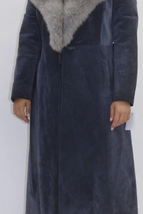 Pelz  Fell  Kragen  Blaufuchs grau mit Leder Mantel