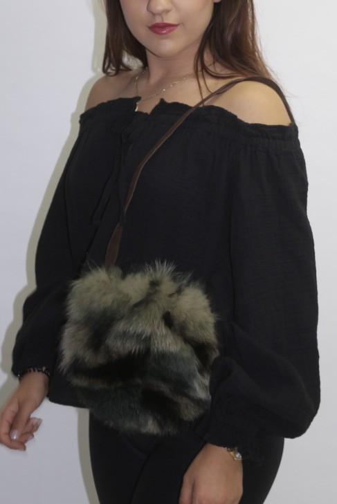 Fur - fur bag pouch blue fox green printed