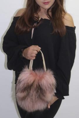 Pelz  - Fell -Tasche Beutel rosa  Finnraccoon   mit Henkel