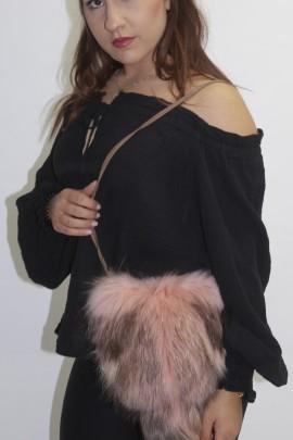 Pelz  - Fell -Tasche Beutel rosa  Finnraccoon   mit Schweife
